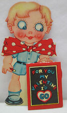 Vintage Valentine's Day Bow Boy Cut Out Beau Greeting Card Valentine USA