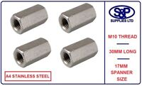 10MM (M10 10mm) A4 STAINLESS STEEL THREADED STUDDING HEXAGON CONNECTOR DEEP NUT