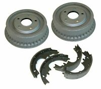 64-85 GM 9.5 Rear Axle Factory Finned Cast Brake Drums & Riveted Shoes Set Kit