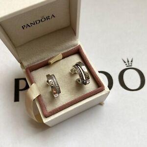 Pandora Silver Pavè Double Hoop Earrings (ALE S925)