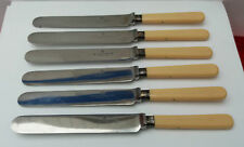 ANTIQUE~ CUTLERY 6 OLD KNIVES RARE  SILVER COLLAR JAMES DEAKIN & SONS SHEFFIELD