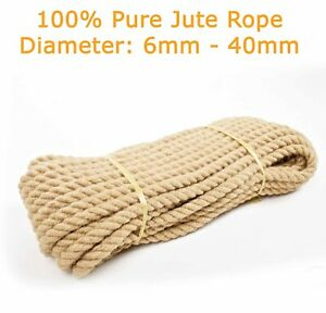 100% Natural Jute Hessian Rope Cord Braided Craft DIY Safe for Pets Animals Gym