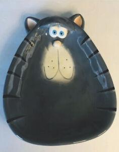 Gray Fat Cat Kitten Kitty Clay Stoneware Trinket Dish Bowl Decor