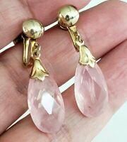 Vintage Faceted Rose Quartz Dangle Screw Back Earrings Gold Tone Briolette Drop