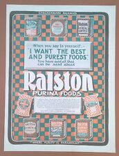 1903 Antique Vintage Kitchen Print AD Ralston Purina Foods Checkerboard Packages