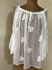 Vintage By Naudic Sabrina Embroidered Sheer Top/Blouse- Marshmallow/White Size S