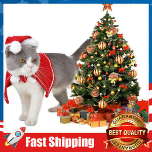 Pet Cat Christmas Costume Adjustable Cloak with Hat Small Dog Apparel