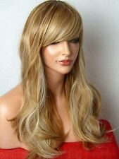 Blonde Long Wavy Ladies Women Fashion real look party cosplay Full Head Wig C23