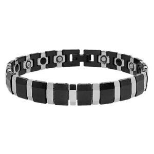 Men Women 11MM Tungsten CarbideTwo Tone Beveled Edges Magnetic Bracelet