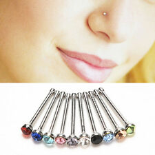 10pcs Crystal Rhinestone Nose Ring Bone Stud Stainless Body Piercing Jewelry LIA