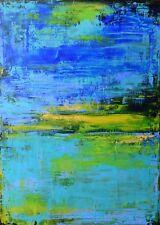 """Peinture, TABLEAU ABSTRAIT original signé HZEN, paysage, """"BLEU ACIDE"""" 50x70 cm"""