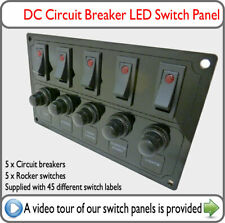 Switch Panel Red LED Switches Circuit Breaker DC VW T4 T5 Van Boat Yacht Camper