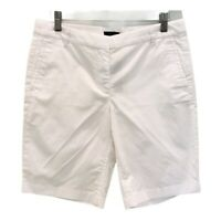 J CREW Womens Bermuda Walking Shorts White Stretch Pockets Flat Front 4 New