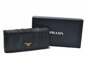 Authentic PRADA NAPPA GAUFRE Leather Long Wallet Black Box C8384