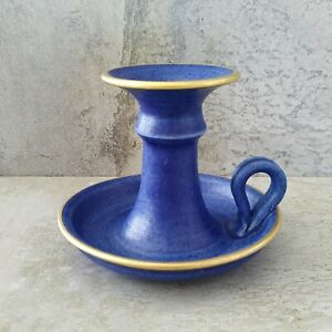 Dirch and Lise Jans Pottery Candle Holder Blue Gold Signed SA Australia