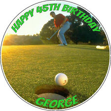"Personalised Golfing Icing Disc Cake Topper - 7.5"" Pre-cut Circle"