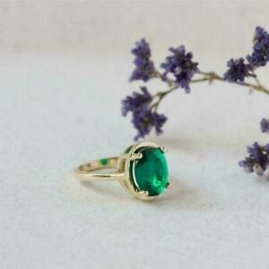 4Ct Oval Cut Green Emerald Solitaire Engagement Ring 14K Yellow Gold Finish