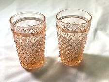 2 Small Flat Juice in Pink Heirloom Depression Glass Miss America Anchor Hocking