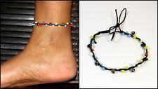 Fußkette Schmuck Fußbändchen Muschel Perlen Bunt Bell verstellbar Wasserfest NEU
