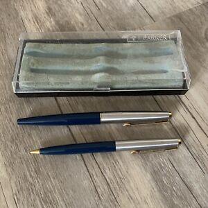 Vintage Parker 45 Fountain Pen & Pencil Set Navy Blue  & Silver Tone