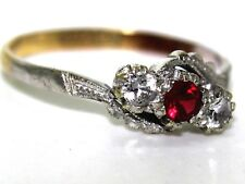 Vintage Synthetic Ruby 9ct Yellow gold Trilogy ring size P 1/2 ~ US 8