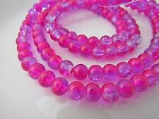 6mm Two Tone Round Crackle Glass Beads Strands Jewellery Making 130pcs HOT PINK