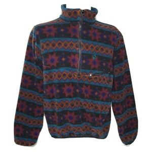Vintage 90s Jack Wolfskin Abstract Southwestern Fleece Jacket Pullover Size S