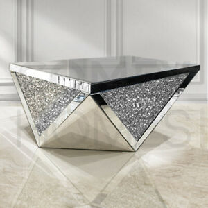 Mirrored Crushed Crystal Octogon Coffee Table 100x60cm - FREE DELIVERY