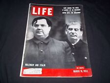 1953 MARCH 16 LIFE MAGAZINE - MALENKOV & STALIN - BEAUTIFUL FRONT COVER - GG 157