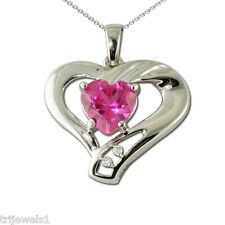 Created Heart Shape Pink Sapphire and Diamond Heart Pendant 1.19 ct tw 10K Gold