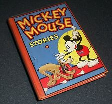 Bright Hardcover! Flip Pgs1934 MICKEY MOUSE STORIES BOOK No 2 Walt Disney 1st