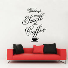 Wake Up Smell Coffee Wall Stickers Decal Removable Art Vinyl Decor Mural DIY