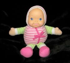 Goldberger Toys Plumpee Plush Baby Lovey Rattle Toy vinyl face blue eyes 10""