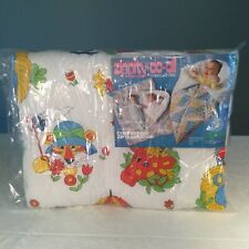 🔴New Vtg Baby Zip Bunting Quilt Comforter 33�x41� Zoo/Safari Tiger Giraffe Bear