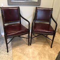 Hickory Chair Co. Burgundy Red Leather Mahogany Chairs Pair