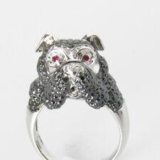 Nyjewel 14k Oro Blanco 4ct Rubí Negro Diamante Blanco Bulldog Anillo