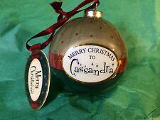 MERRY CHRISTMAS to CASSANDRA Paper Mache Ball Ornament STOCKING STUFFER Teacher