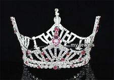Pageant Beauty Contest Pink Crown Full Circle Round Prom Bridal Wedding AT1609