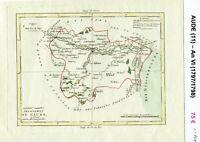 Dépt 11 - XVIII ème Belle Carte Gravure sur Cuivre Aquarellée An VI (1797/1798)
