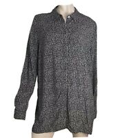 J Jill Top Blouse Button Shirt Long Sleeve Collared Women Size XL Black Print
