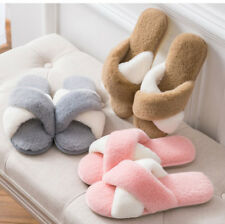 New Womens Winter Warm Open Toe Slippers Soft Plush Home Indoor Shoes Faux Fur