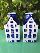 Vintage Blue Delft Pair of Amsterdam Canal House Candle Holders Made in Korea