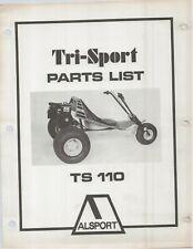 Reproduction Alsport Tri-Sport Parts List Manual TS110