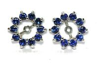 14k white gold 0.80ctw natural blue sapphire 5mm round stud earring jackets new