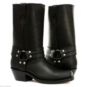 Grinders Harness High Black Mens Ladies Cowboy Western High Biker Leather Boots