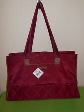 Vera Bradley Preppy Poly Triple Compartment Travel Bag in Claret: New with Tags