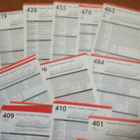 50 x London Transport Bus Stop Timetable Panels -Routes 400 to 499 - 1980's/90'