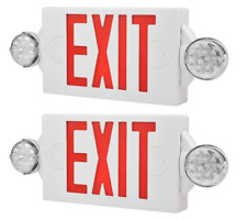 2 Pack Led Exit Sign Emergency Lighthi Output Compact Combo Ul Listed Red