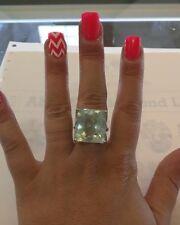 Designer Estate Huge natural 34 carat Aquamarine & diamond 14k white gold ring 7