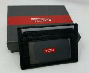 Tumi Nassau SLG Slim Card Case Textured Leather Wallet  Black $85 NWT Gift Box